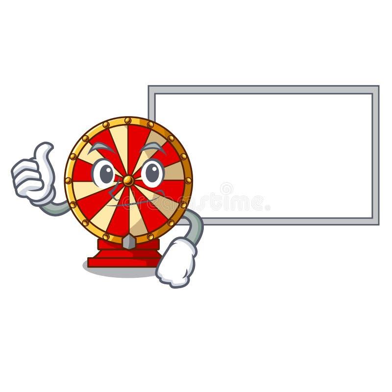 Polegares acima com jogo da roda de gerencio da placa a forma da mascote ilustração stock