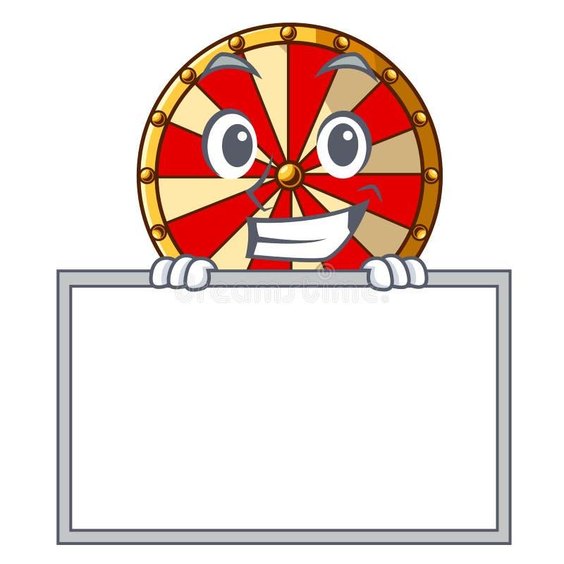 Polegares acima com jogo da roda de gerencio da placa a forma da mascote ilustração do vetor