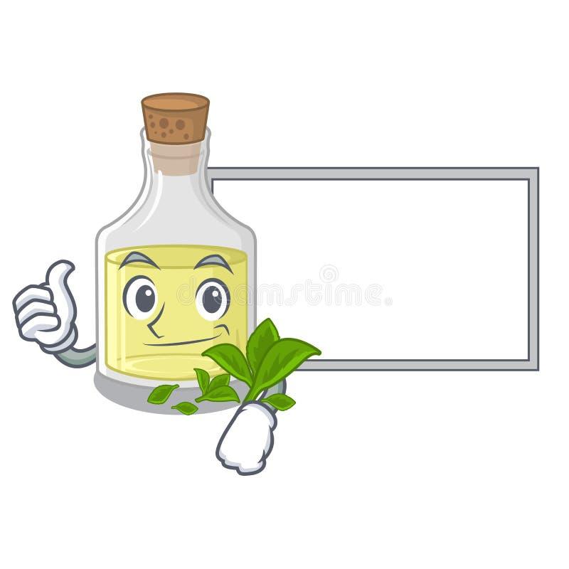 Polegares acima com o óleo de pastilha de hortelã da placa isolado nos desenhos animados ilustração stock