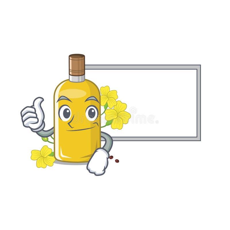 Polegares acima com o óleo do canola da placa isolado com os desenhos animados ilustração do vetor