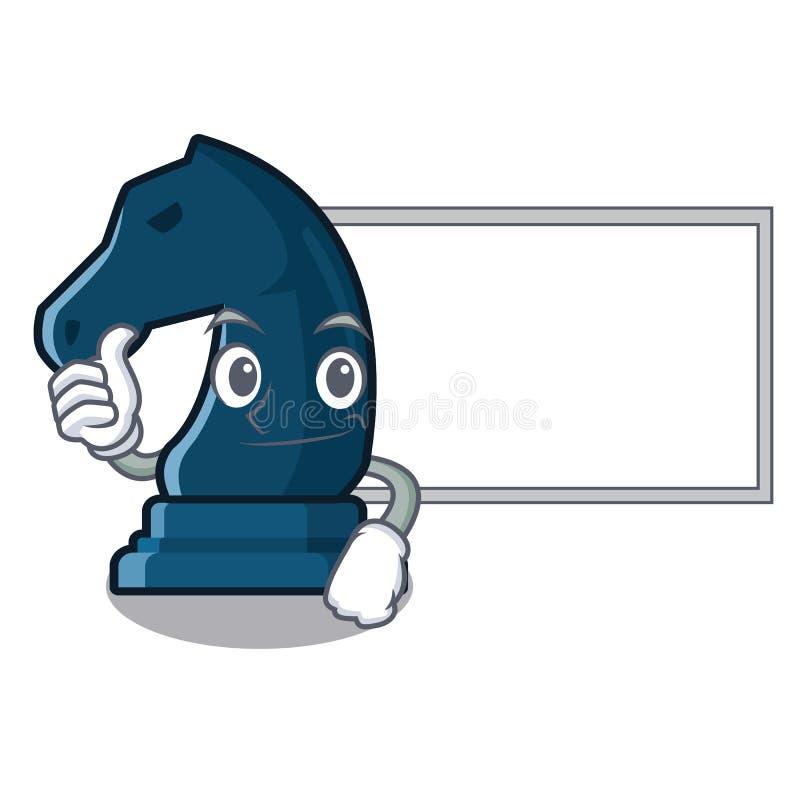 Polegares acima com o cavaleiro da xadrez da placa na forma da mascote ilustração do vetor