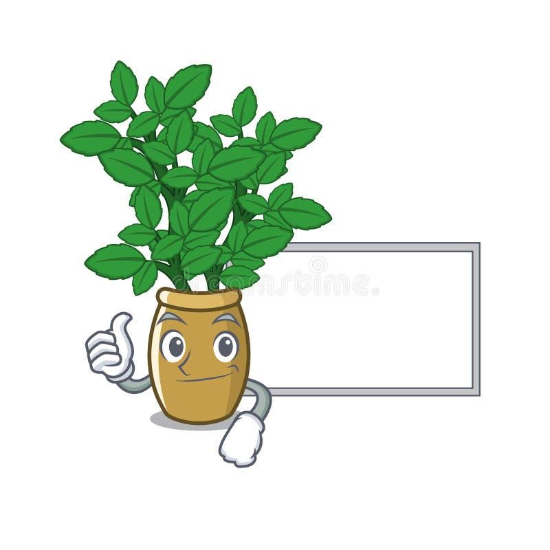 Polegares acima com o erva-cidreira da placa da placa isolado no caráter ilustração do vetor