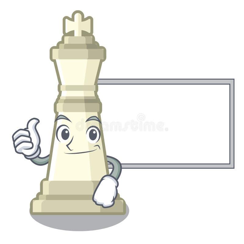 Polegares acima com o rei da xadrez da placa isolado no caráter ilustração stock