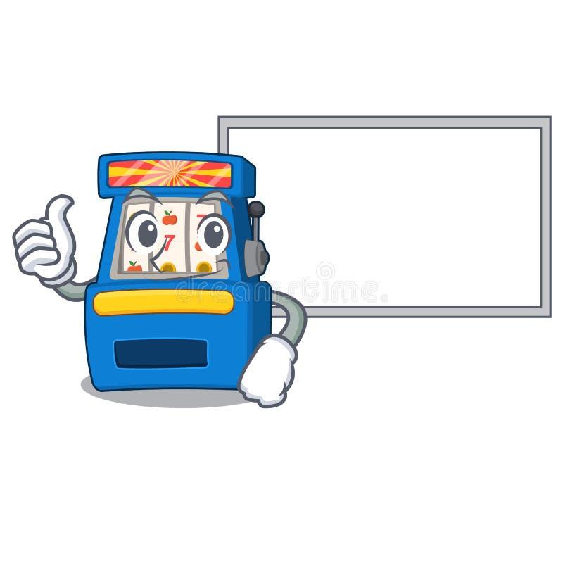Polegares acima com o slot machine da placa na forma da mascote ilustração stock