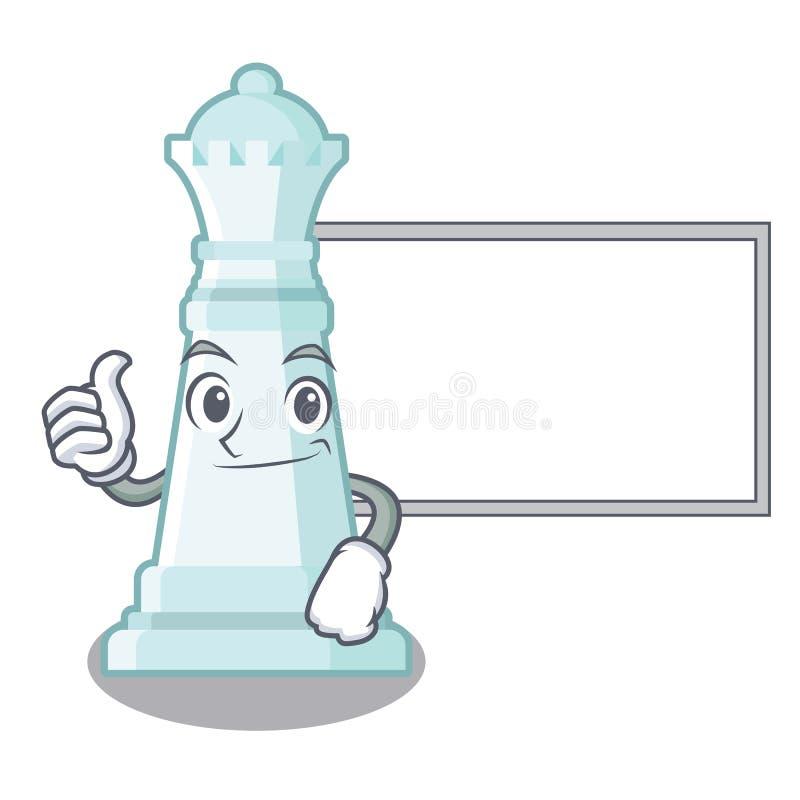 Polegares acima com a rainha da xadrez da placa isolada no caráter ilustração royalty free