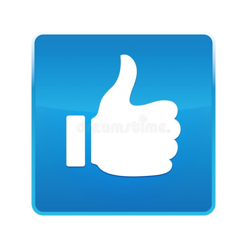 Polegares acima como o botão quadrado azul brilhante do ícone ilustração do vetor