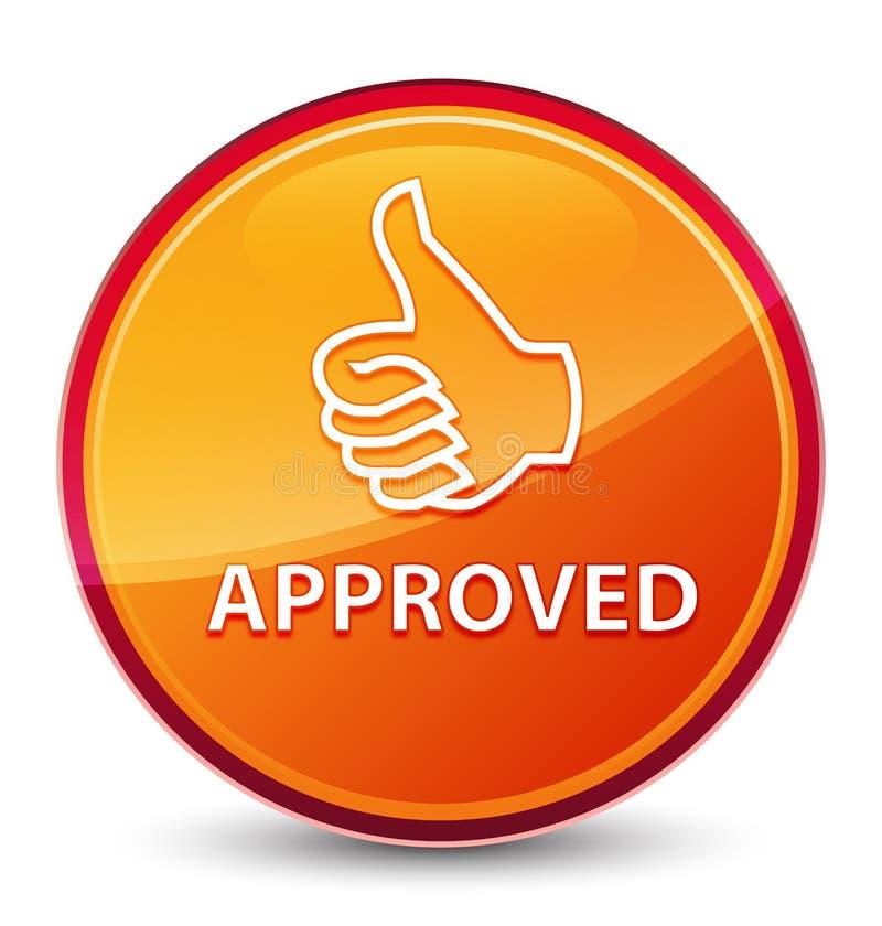 (Polegares acima do ícone) botão redondo alaranjado vítreo especial aprovado ilustração do vetor