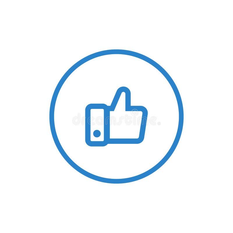 Polegares acima do ícone, como o símbolo Projeto simples, liso, estilo contínuo dos ícones para o negócio, meios sociais, Web e a ilustração royalty free