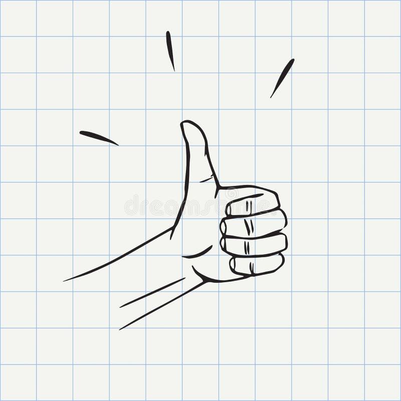 Polegares acima do ícone da garatuja do gesto ilustração do vetor
