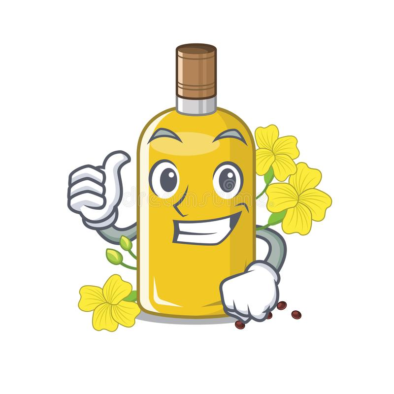 Polegares acima do óleo do canola na forma da mascote ilustração stock