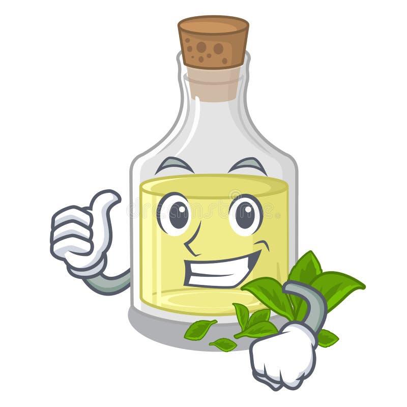 Polegares acima do óleo de pastilha de hortelã na forma dos desenhos animados ilustração do vetor