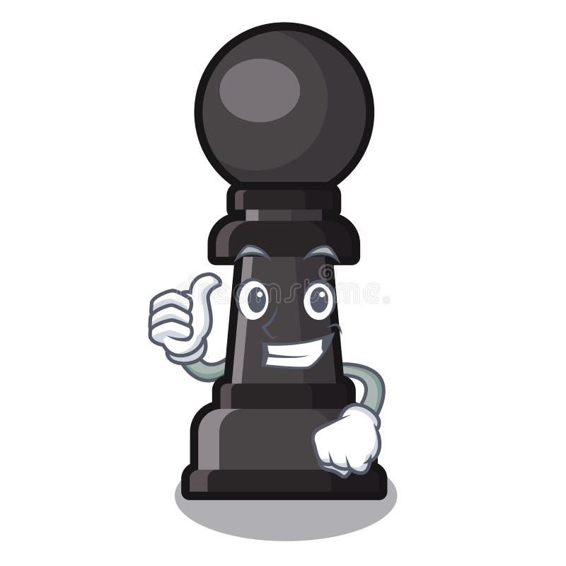 Polegares acima do brinquedo do penhor da xadrez a mascote da forma ilustração do vetor