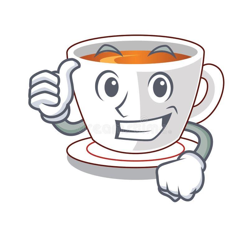 Polegares acima do chá da hortelã do copo a mascote da forma ilustração royalty free