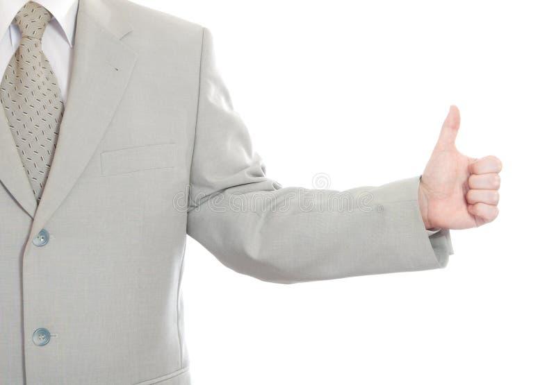 Polegares acima do sinal da mão do sucesso isolado imagem de stock