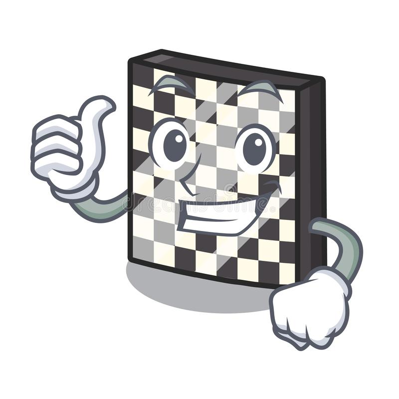 Polegares acima do tabuleiro de xadrez na forma dos desenhos animados da ilustração do vetor