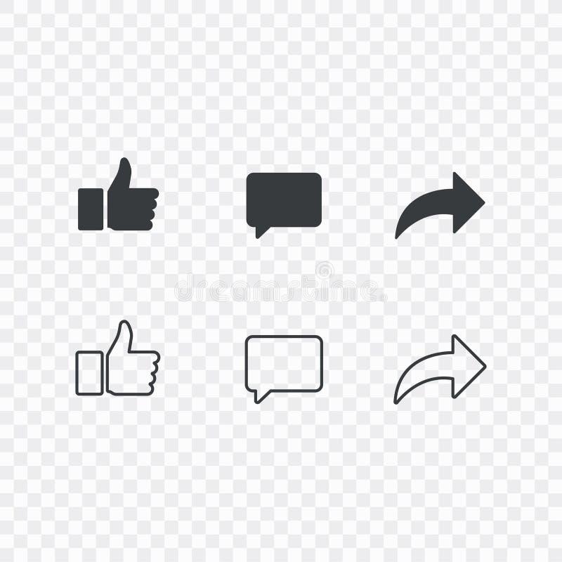 Polegares acima e com dos ícones do repost e do comentário em um fundo branco Ícone social dos meios, ícone compreensivo das reaç ilustração stock