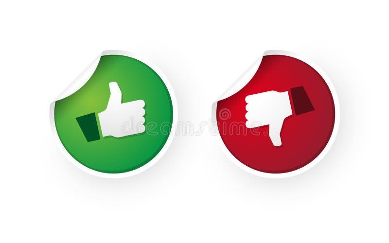 Polegares acima e dos polegares etiquetas do ícone para baixo ilustração royalty free