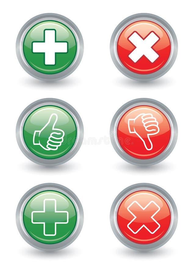 Polegares acima e para baixo botões lustrosos da Web ilustração royalty free