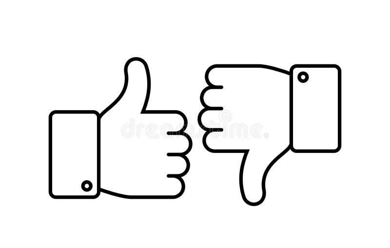 Polegares acima e para baixo Como e do desagrado linha ícones As redes sociais esboçam o acordo, o positivo e o negativo isoladas ilustração royalty free