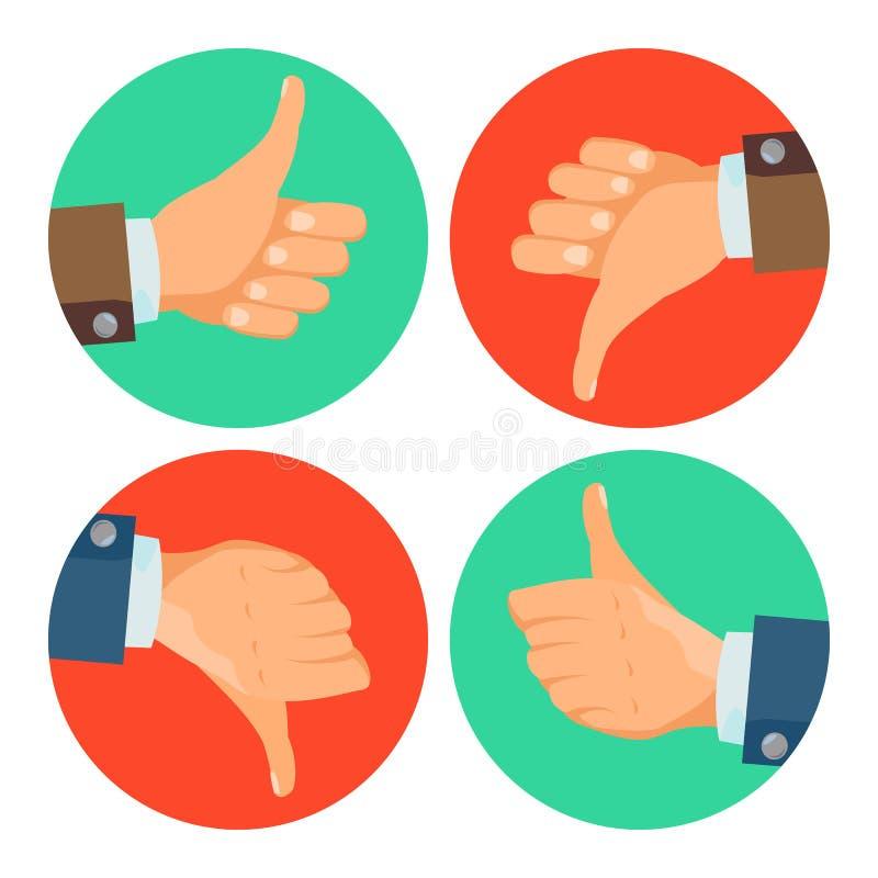 Polegares acima, para baixo vetor dos ícones Mãos do negócio Símbolo social da Web da rede dos meios Conceito bem escolhido Dedo  ilustração stock