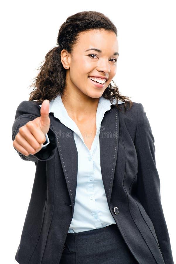 Polegares afro-americanos atrativos da mulher de negócios isolados acima sobre fotos de stock