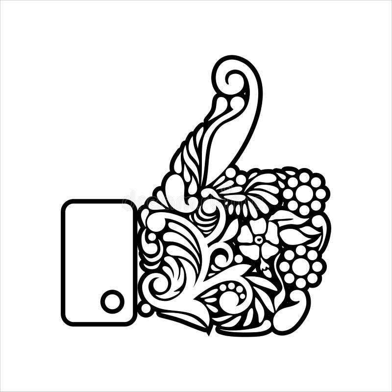 Polegares barrocos acima do ícone floral ilustração royalty free