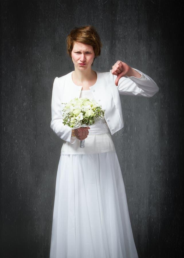Polegares do dia do casamento para baixo imagem de stock