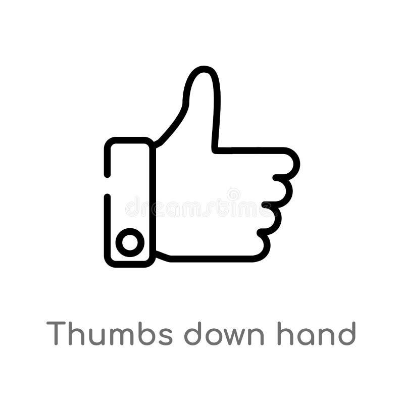 polegares do esboço abaixo do ícone do vetor da mão linha simples preta isolada ilustração do elemento do conceito dos sinais Cur ilustração royalty free