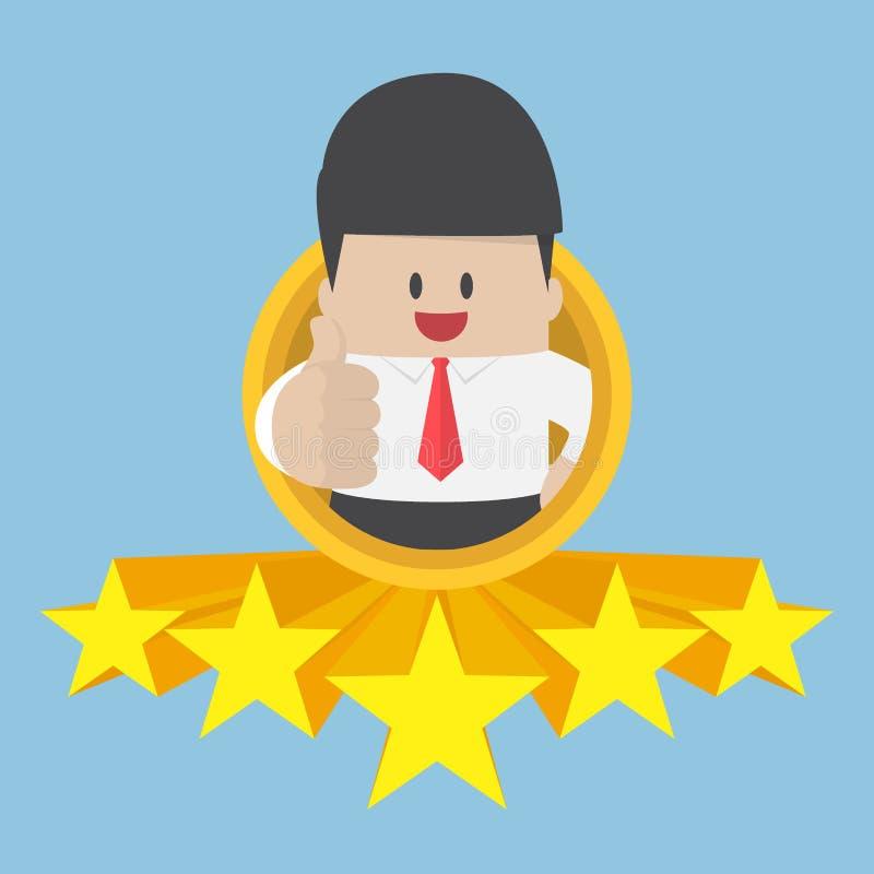 Polegares do homem de negócios acima com avaliação de cinco estrelas ilustração royalty free