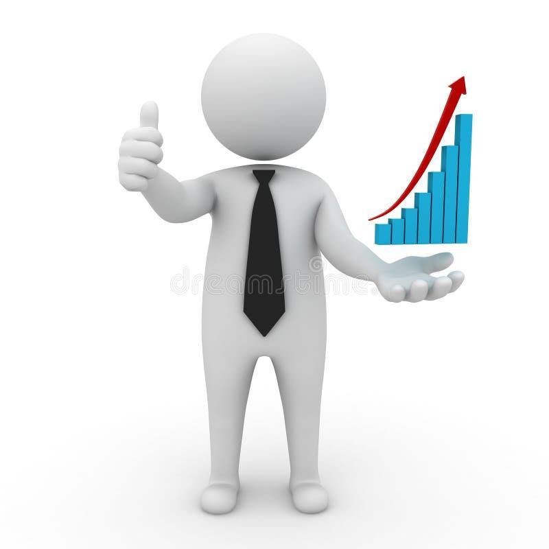 Polegares do homem de negócios acima com gráfico de aumentação ilustração stock