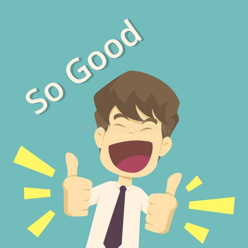 Polegares do homem de neg?cios acima Homem bem sucedido, sorriso, acordo do dedo, a melhor escolha os desenhos animados do negóci ilustração do vetor
