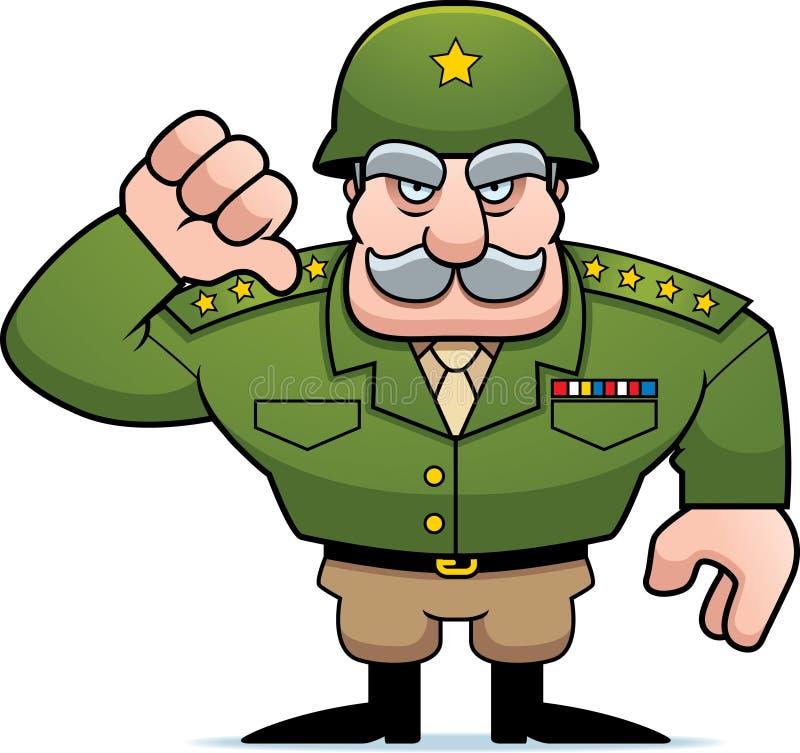 Polegares gerais militares dos desenhos animados para baixo ilustração do vetor