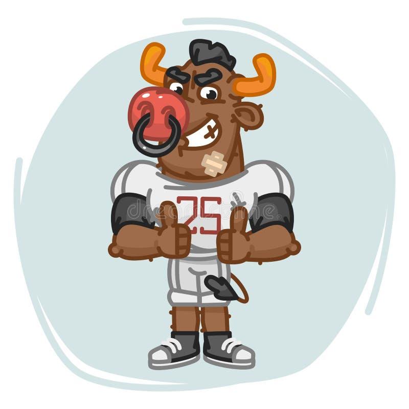 Polegares irritados das mostras do jogador de futebol de Bull acima ilustração do vetor
