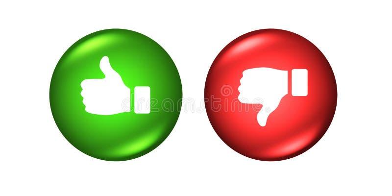 Polegares para cima e para baixo botões como o verde vermelho do desagrado ilustração stock