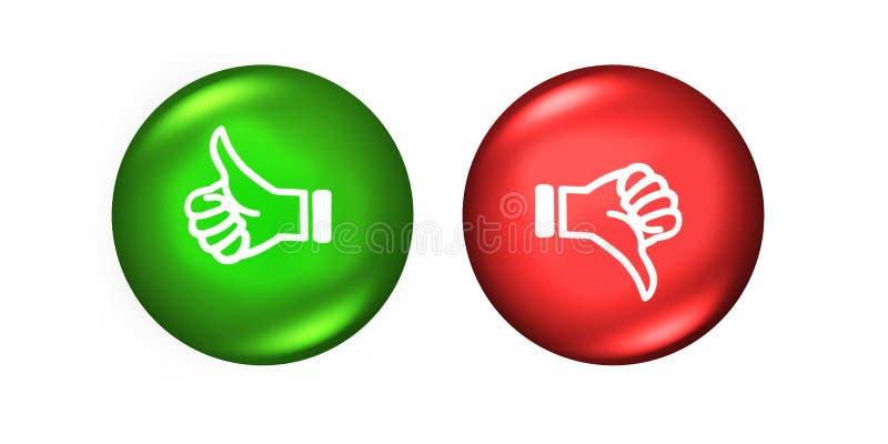 Polegares para cima e para baixo botões como o verde vermelho do desagrado ilustração do vetor