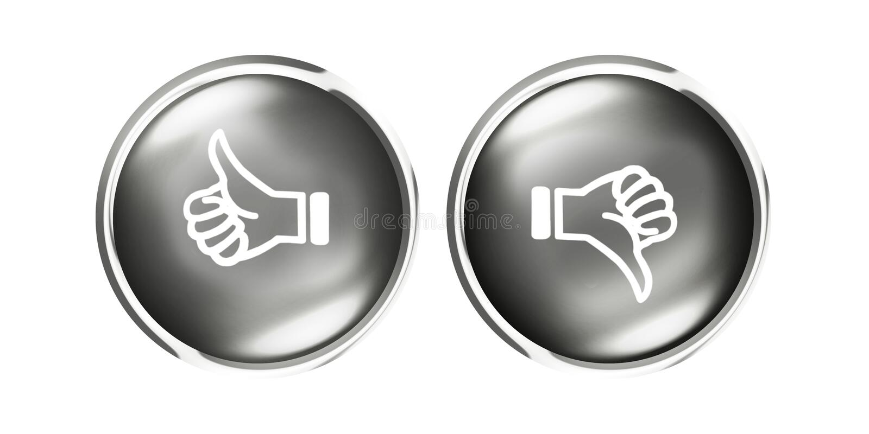 Polegares para cima e para baixo botões de prata brancos pretos como o desagrado ilustração stock