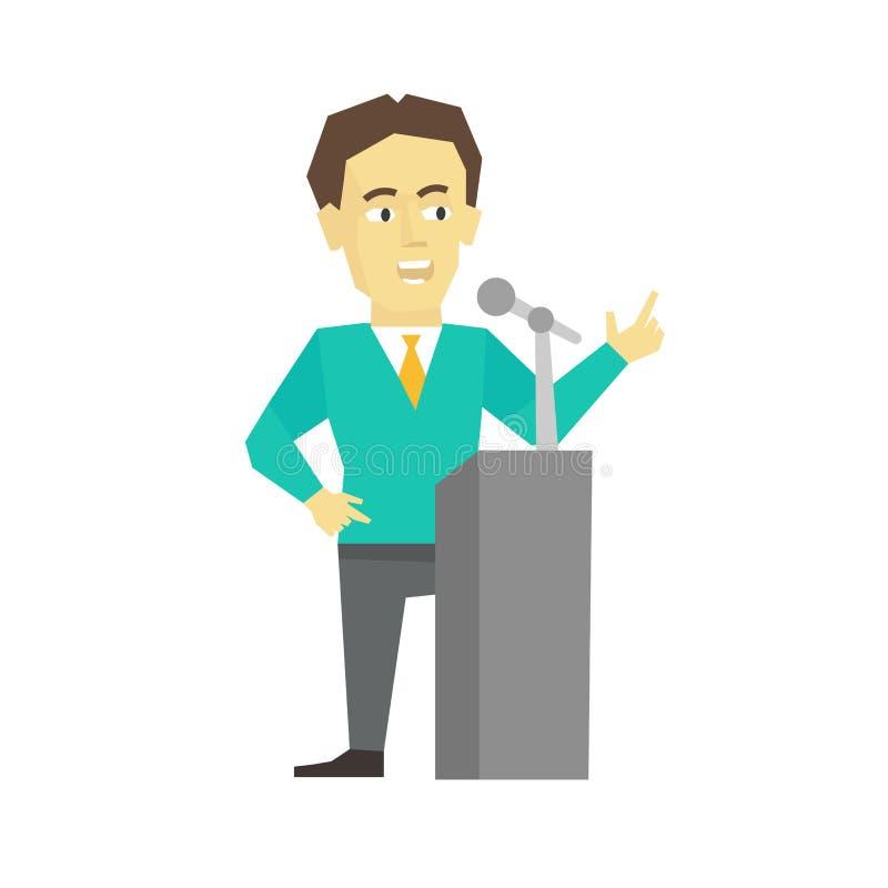 Polemicisthögtalare Politiker för affärsman Presidentanförande på tribunpredikstolen Plan färgvektorillustration stock illustrationer