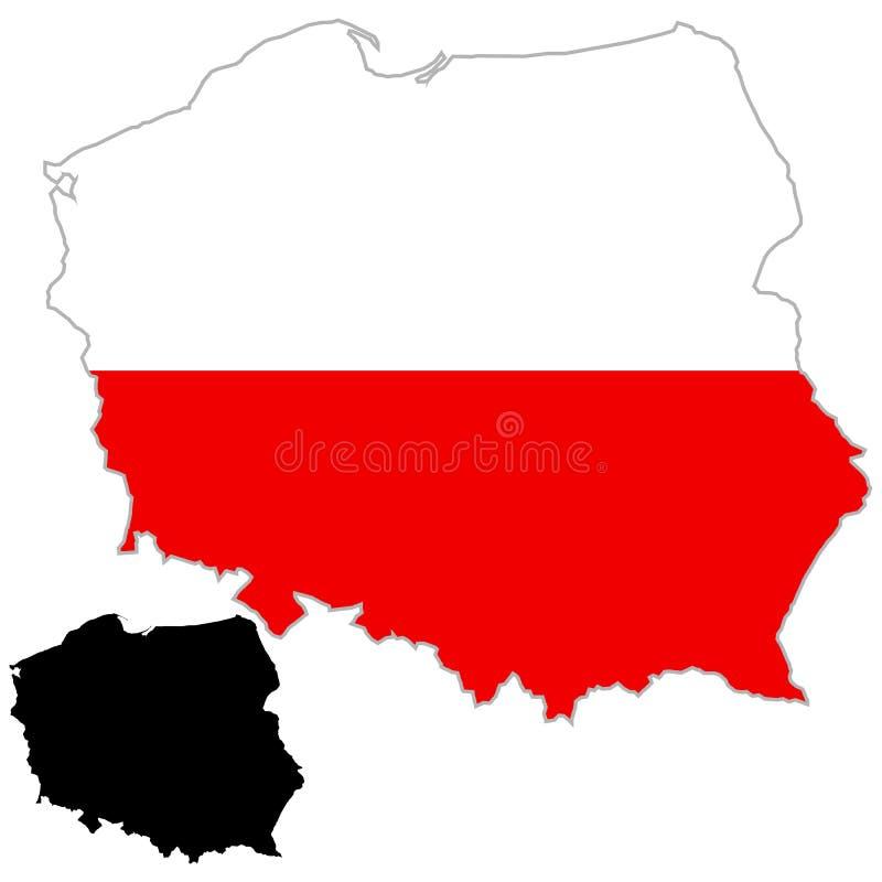 Polen översiktsflagga royaltyfri illustrationer