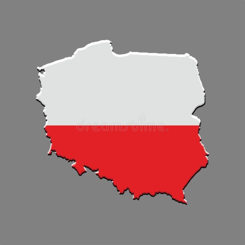 Polen översiktsvektor på grå bakgrund vektor illustrationer