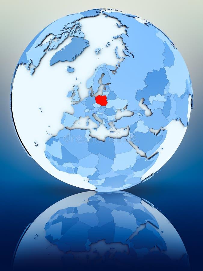 Polen auf blauer Kugel stock abbildung
