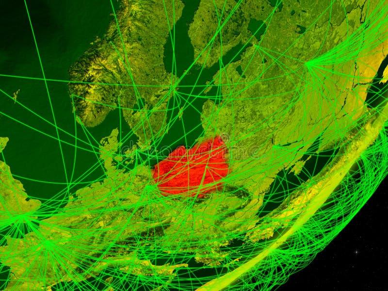 Polen auf digitaler Erde stock abbildung