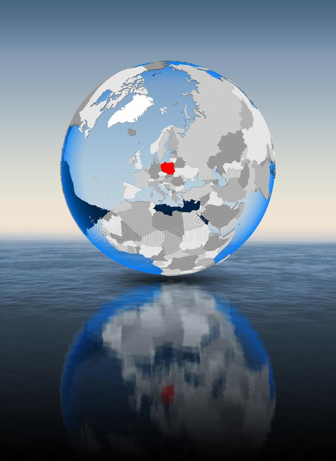 Polen auf Kugel im Wasser stock abbildung
