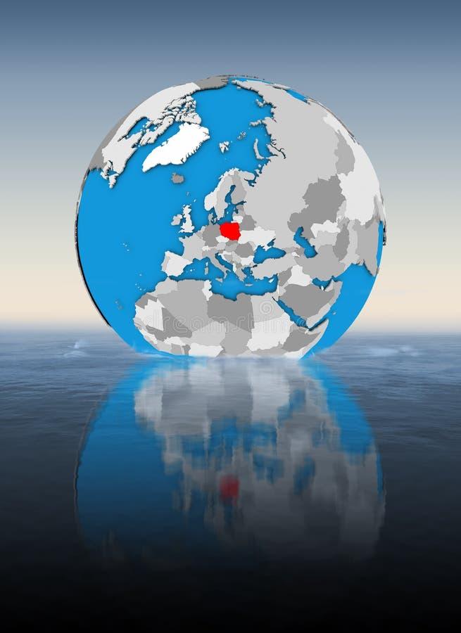 Polen auf Kugel im Wasser lizenzfreie abbildung