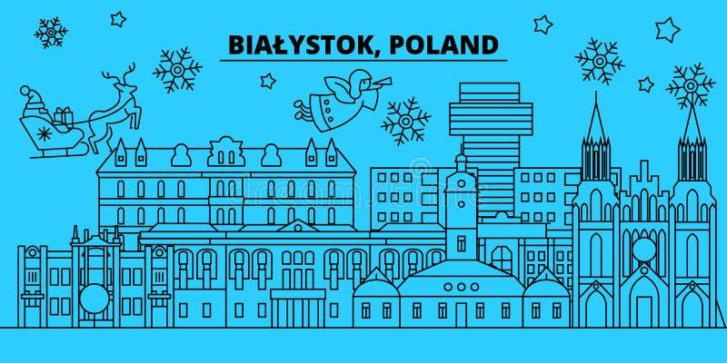 Polen Bialystok övervintrar feriehorisont Glad jul, det lyckliga nya året dekorerade banret med Santa Claus plant royaltyfri illustrationer