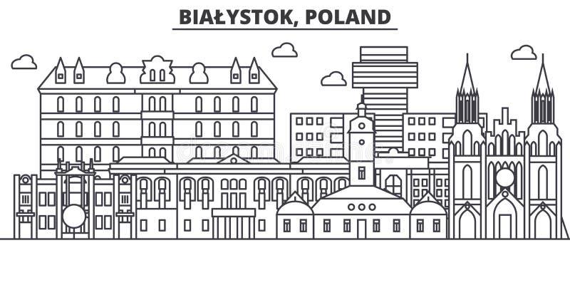 Polen Bialystok arkitekturlinje horisontillustration Linjär vektorcityscape med berömda gränsmärken, stad siktar vektor illustrationer