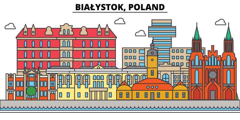 Polen Bialystok Stadshorisont, arkitektur, byggnader, gator, kontur, landskap, panorama, gränsmärken redigerbart royaltyfri illustrationer