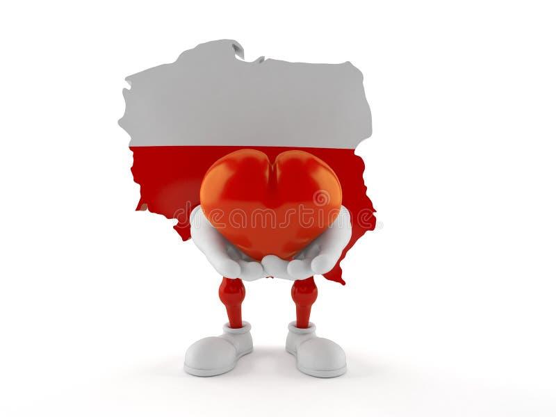 Polen-Charakter, der Herz hält lizenzfreie abbildung