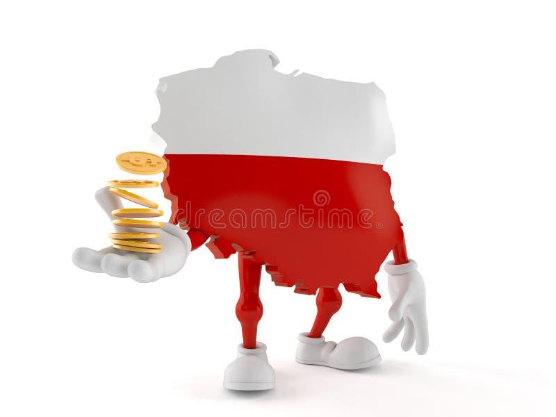 Polen-Charakter mit Stapel M?nzen lizenzfreie abbildung