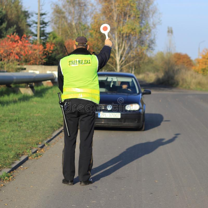 Polen den kommunala polisen, StraÅ ¼ Miejska arkivfoto