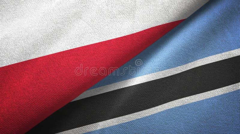 Polen en Botswana twee vlaggen textieldoek, stoffentextuur royalty-vrije illustratie